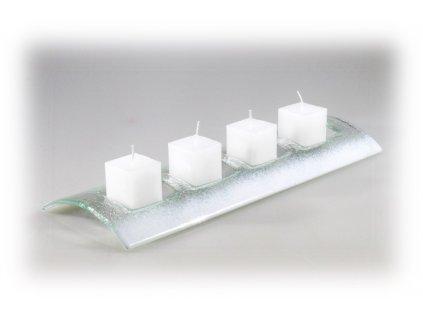 Skleněný svícen Tunel na 4 svíčky bílý se svíčkami