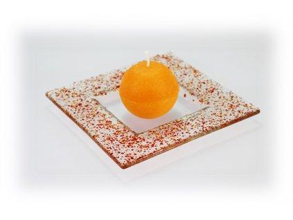 Drop skleněný tácek na svíčku 16x16cm červeno oranžový