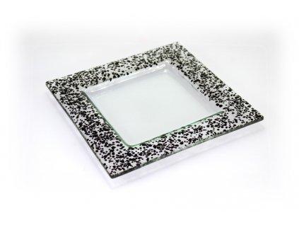 Drop skleněný tácek na svíčku 18x18cm černý