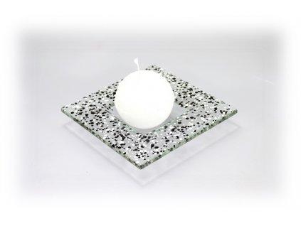 Drop skleněný taácek 13x13cm černo bílý