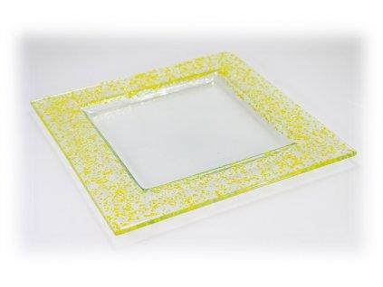 Drop skleněný talíř 25x25cm tmavě žlutá
