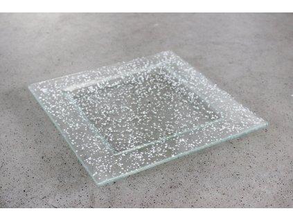Skleněný talíř FULL DROP 25x25cm bílý