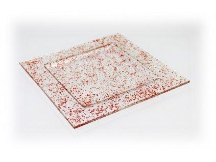 skleněný tác FULL DROP 25x25cm červený