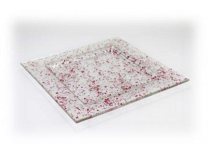 skleněný tác FULL DROP 25x25cm růžový