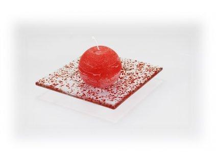 skleněný tácek FULL DROP 13x13cm červený