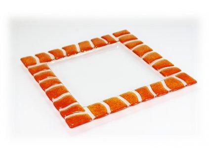 skleněný talíř oranžový
