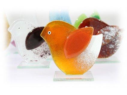 skleněný dekorativní ptáček oranžový