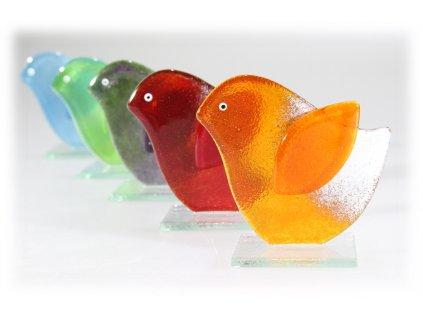 skleněný dekorativní ptáček