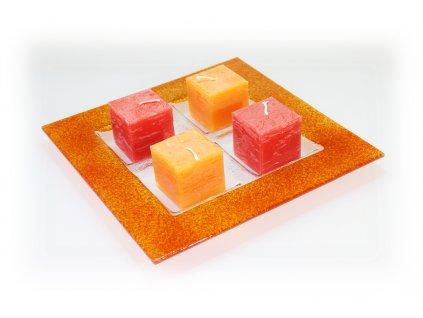 Adventní tác na 4 svíčky oranžový