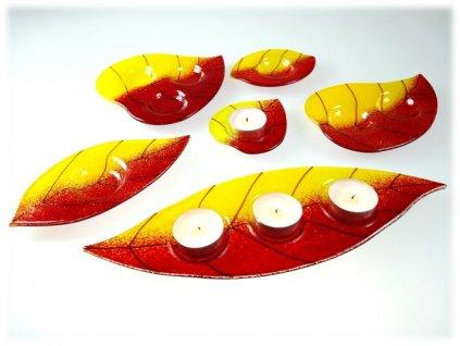 skleněný svícen na čajovou svíčku lístek červeno žlutý