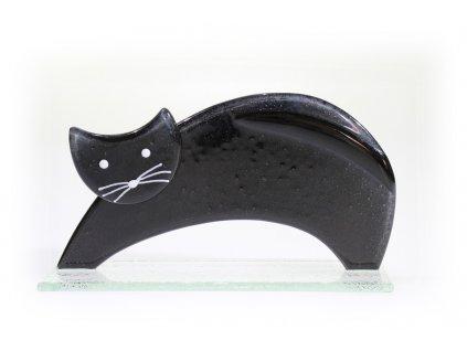 skleněná kočka černá protahující se