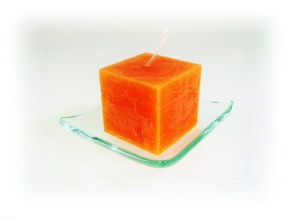 svíčka kostka oranžová