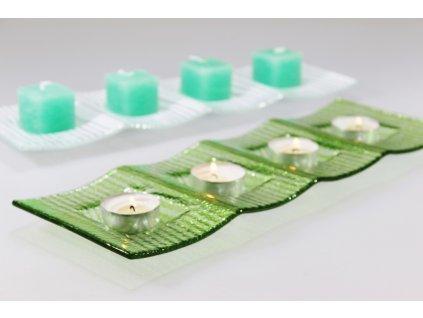 svíčka kostka malá tmavě zelená