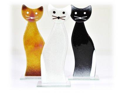 skleněná kočka bílá stojící