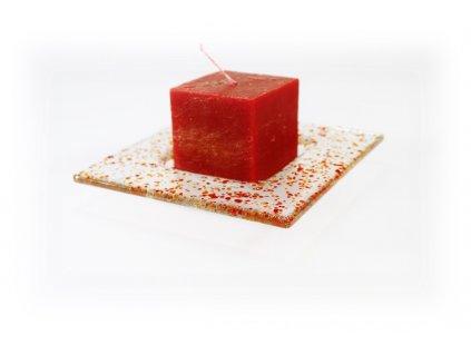 Drop skleněný tácek na svíčku 13x13cm červený