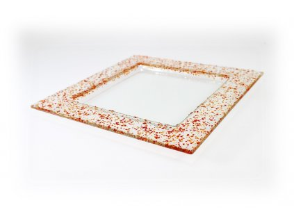 Drop skleněný talíř 25x25cm červený