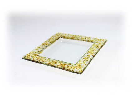 Drop skleněný tácek na svíčku 16x16cm ambrový