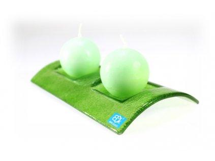 Svícen TUNEL na 2 svíčky zelený celobarevný