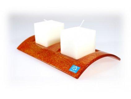 Svícen TUNEL na 2 svíčky oranžový celobarevný