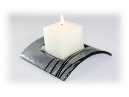 Skleněný svícen TUNEL na 1 svíčku šedý