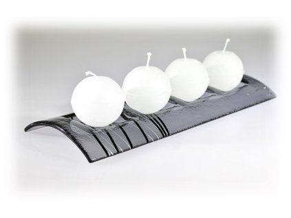 Skleněný svícen TUNEL na 4 svíčky šedý