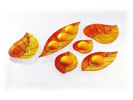 skleněný svícínek oranžovo ambrový