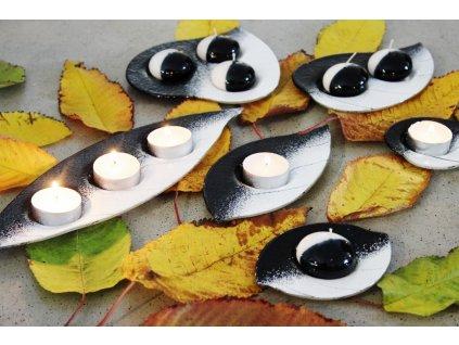 Skleněný svícínek LÍSTEK - černo-bílý