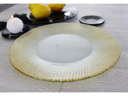kulatý skleněný talíř