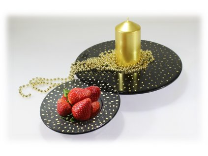 skleněný svícenSvícen COSMOS se zlatými puntíky