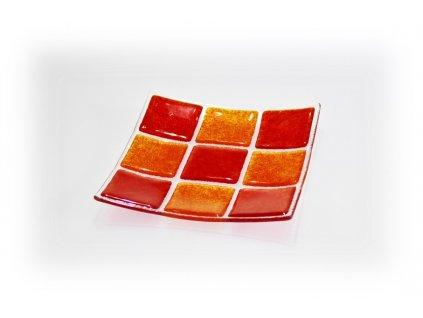 Skleněná miska KARO oranžovo červená