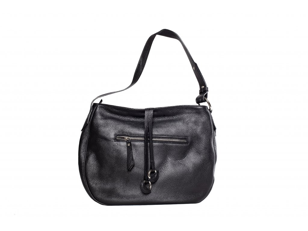 Čierna kožená kabelka