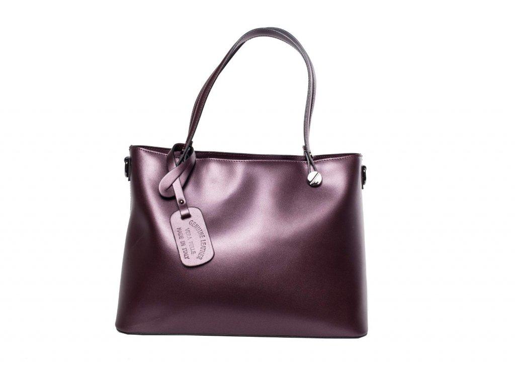 Fialová kožená kabelka