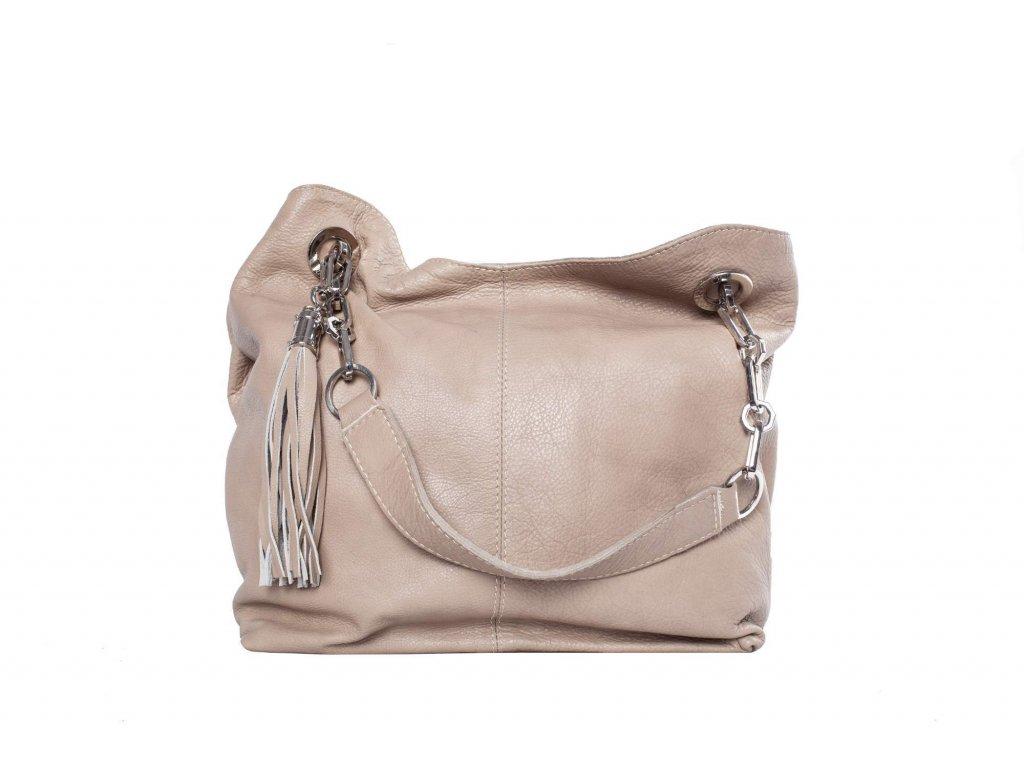 Krémová kožená kabelka
