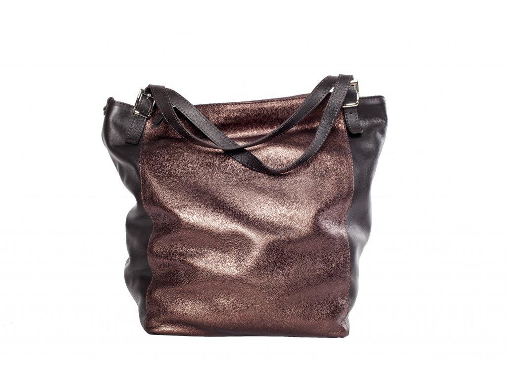 Metalická kožená kabelka