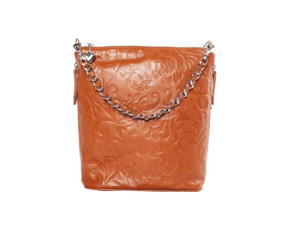 Oranžová kožená kabelka