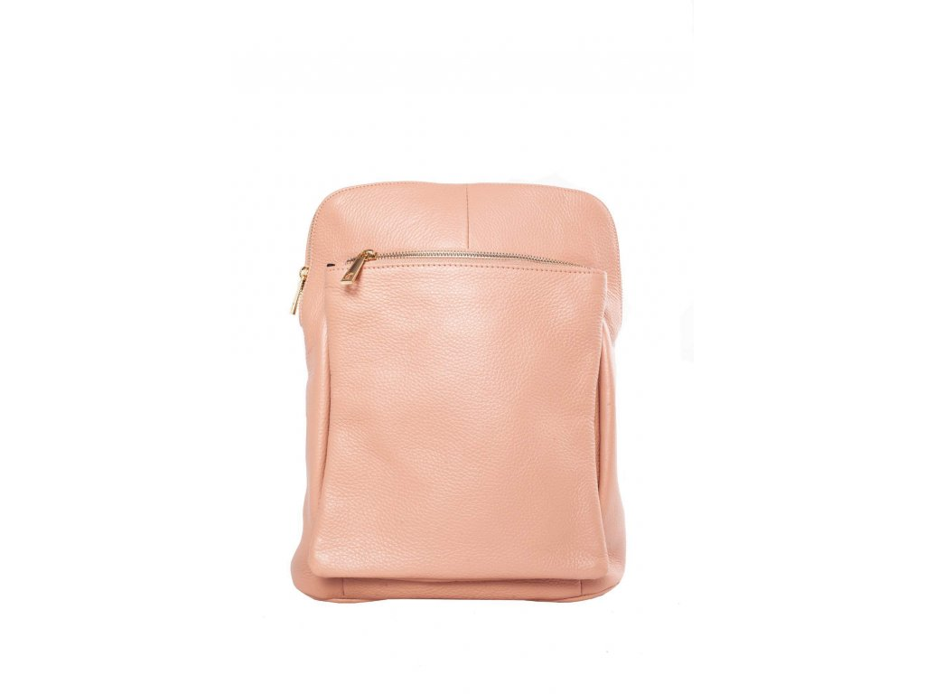 Oranžoý kožený batůžek