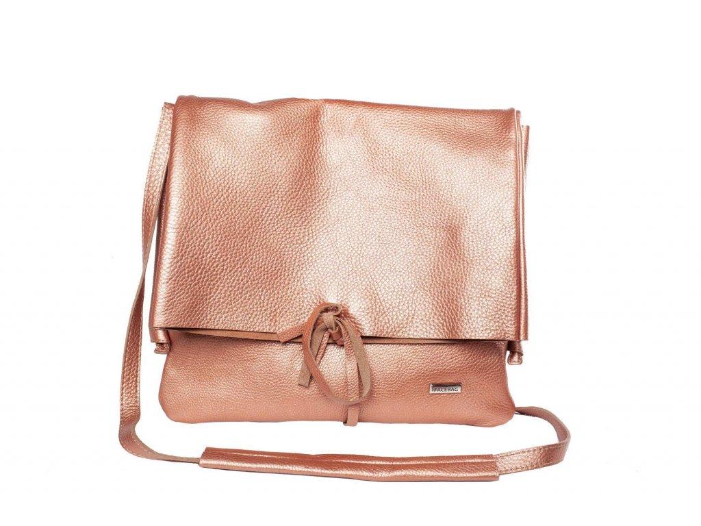 Rosegold kožená kabelka