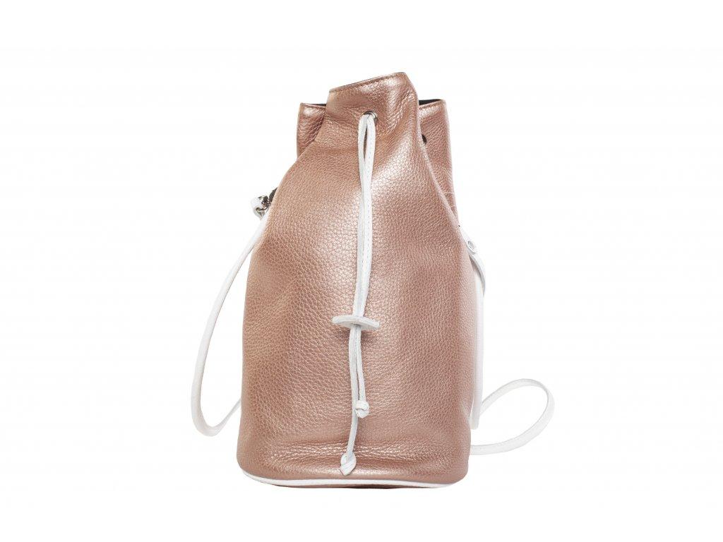 Rosegold kožený batůžek