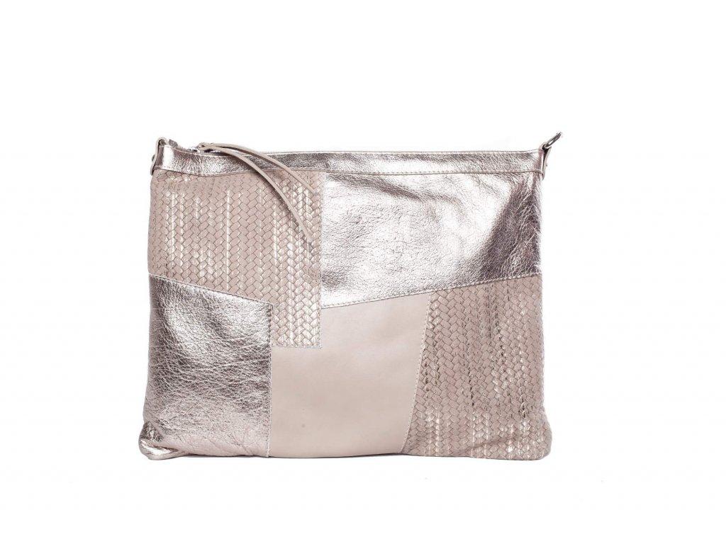 Růžovo - stříbrná kožená kabelka
