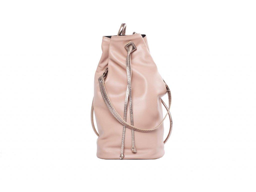 Růžový kožený batůžek