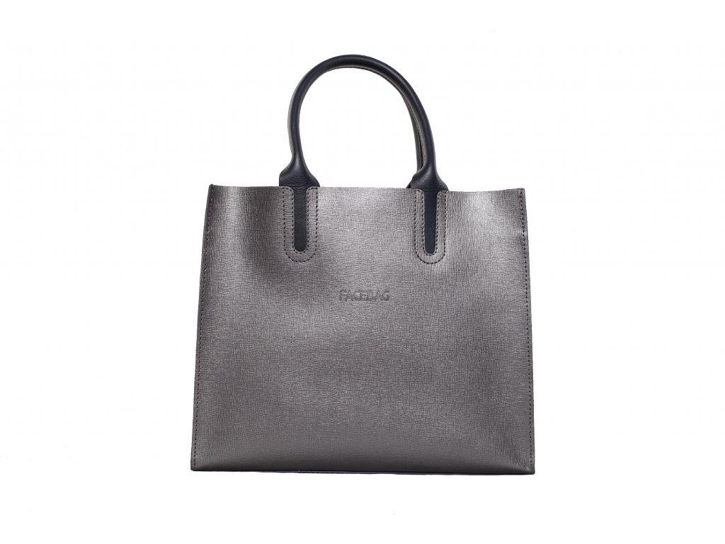 Stříbrná kožená kabelka