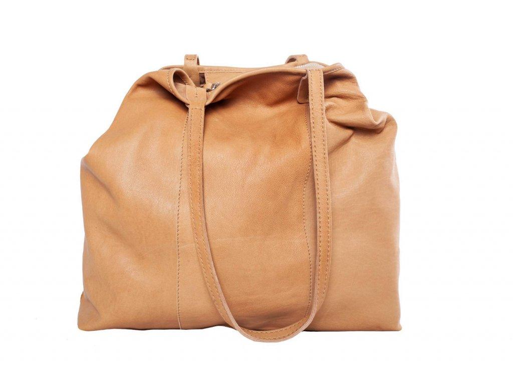 Světle hnedá kožená kabelka
