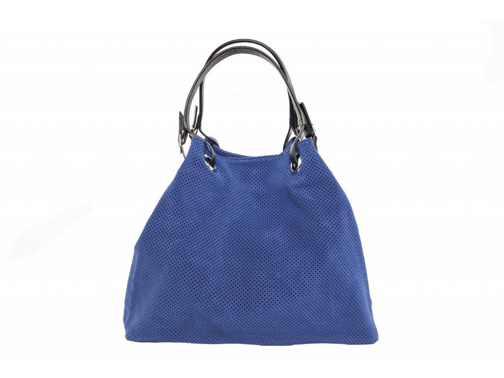 Světle modrá kožená kabelka