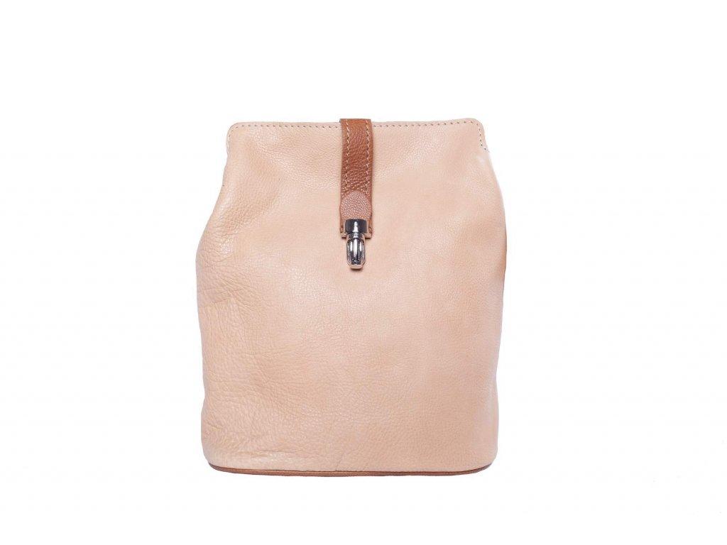 Světle růžová kožená kabelka