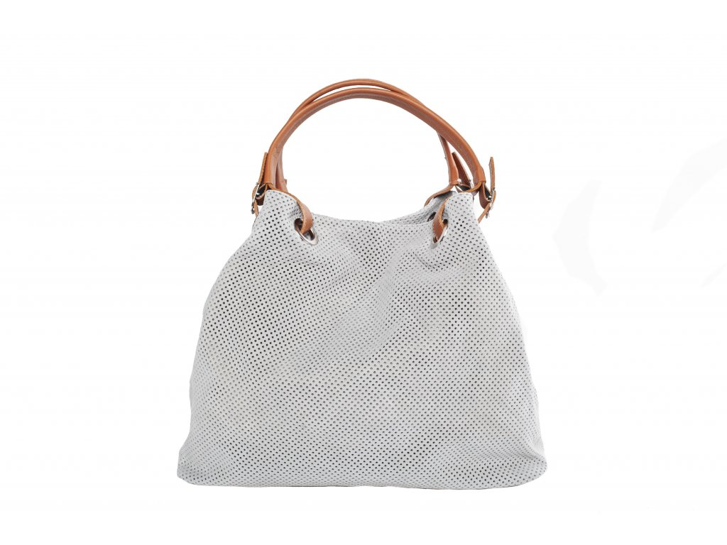 Světle šedá kožená kabelka