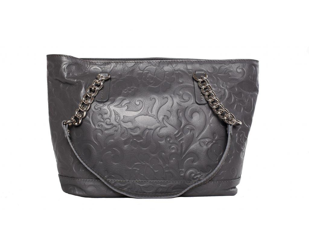 Šedivá kožená kabelka