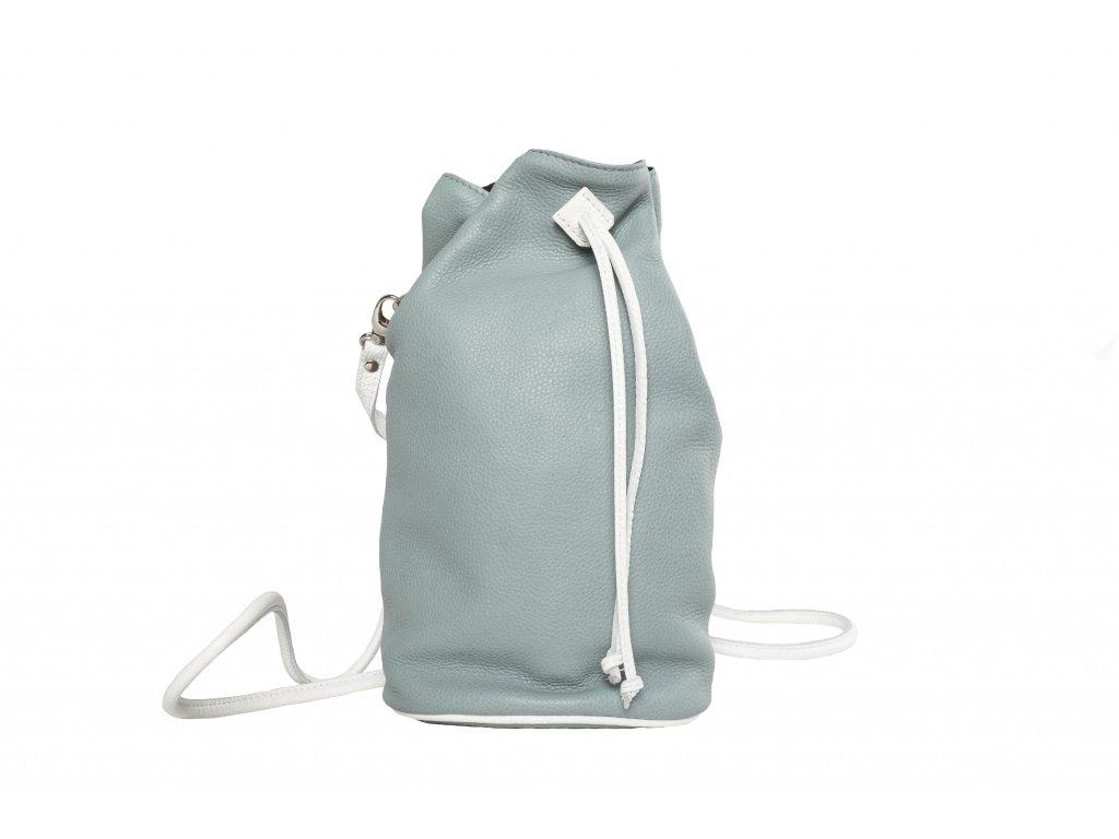 Šedivo - modrý kožený batůžek