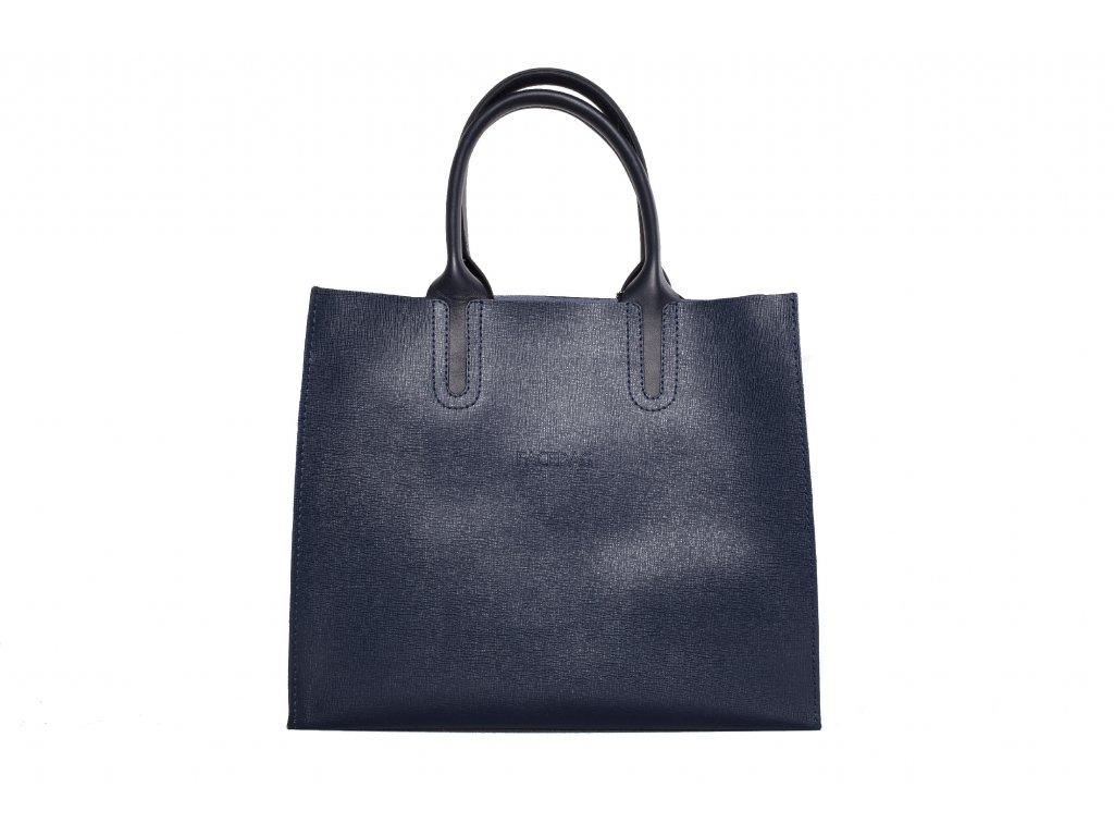 Tmavě modrá kožená kabelka