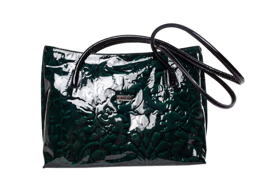 Tmavě zelená kožená kabelka