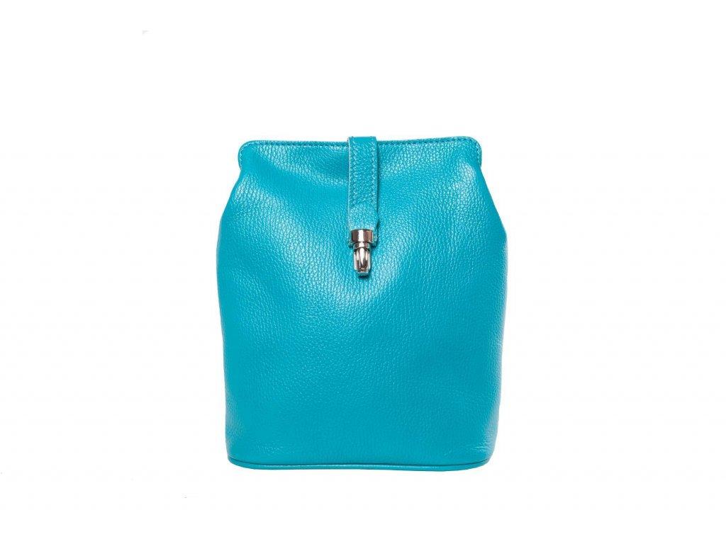 Tyrkysová kožená kabelka